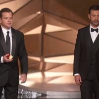 Matt Damon e Jimmy Kimmel, apresentador do Oscar 2017. Crédito: ABC